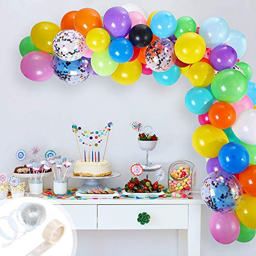 Rainbow Balloons Arch Kit, 112 Pcs Assorted Latex Party Ballons Garland Kit, 12 Inch Multicolor Confetti Balloons with Balloon Strip Tape for Carnival Circus Wedding Birthday Party Decorations