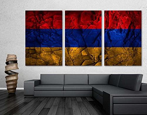 WKXZZS Armenien-Flagge Steinrücken-Effekt Panorama Leinwand Bild Format Wandbilder Wohnzimmer Wohnung Deko Kunstdrucke,3 Teilig
