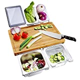 Bamboo Cutting Board Extensible Chopping Board with 4 Containers Food Serving Tray Set Prepdeck for Kitchen, Eco-friendly Cheese Serving Board for Meats Bread Fruits Vegetable