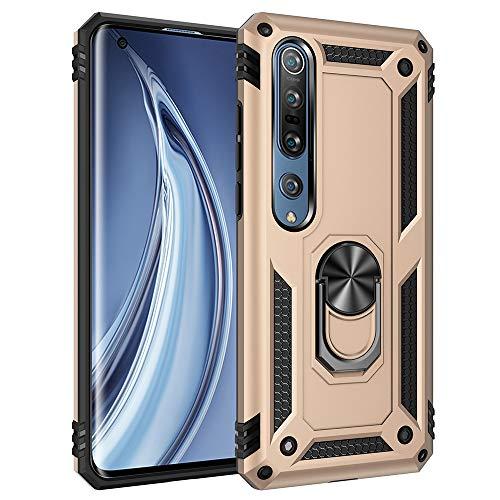 Funda para Xiaomi Mi 10 5G Teléfono Móvil Doble Capa Silicona Bumper Case con 360 Grados Rotaria Ring Holder Protectora Armor Cover [Protección contra Caídas Reforzada] (Dorado)