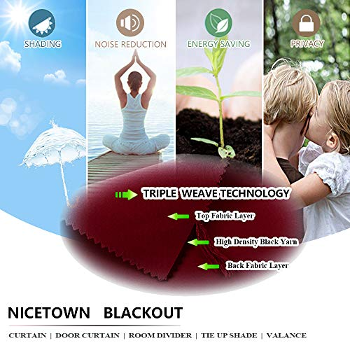 NICETOWN Blackout Curtain Panels for Girls (Red Color) 52W x 72L, 2 Panels, Noise Reducing Back Tab Blackout Draperies