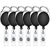 Selizo Retractable Badge ID Card Holders with Carabiner Reel Clip (6)