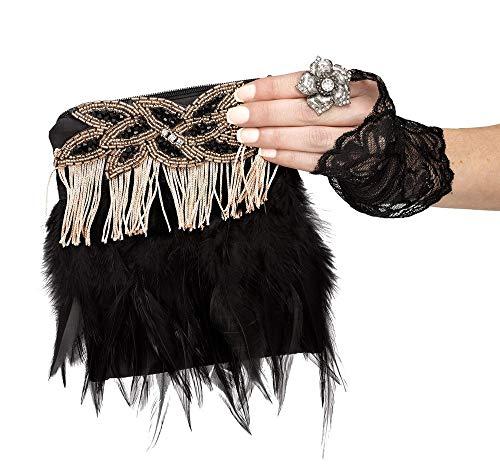 shoperama Charleston Flapper - Bolso para mujer, plumas, flecos, perlas, color negro