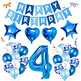 Amycute 4er Decoraciones de Cumpleaños Globos, Feliz Cumpleaños Globos 4 Años Azul, Globos Número 4 Digitales Gigante del Papel de Aluminio, Globos de Confeti de Latex para Fiestas Niños