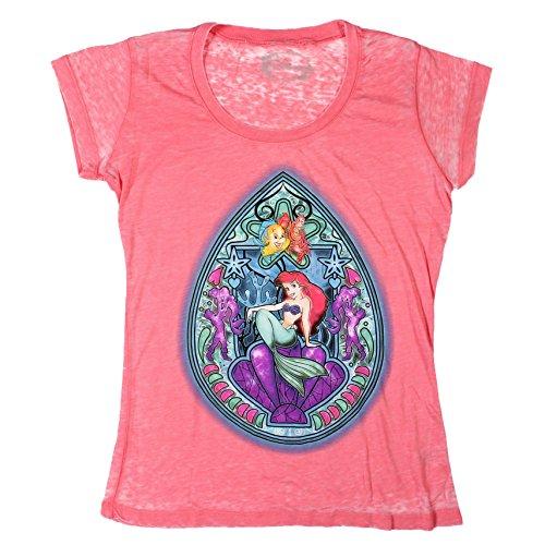 Disney Ariel la Sirenetta, con Top in vetro colorato-Maglietta da ragazzo rosso Large