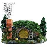 Decoración De Acuario Casa Hobbit Burbujeador De Aire para Betta Escondido Reptil Agujero Casa Refugio Adorno De Pecera Burbuja De Oxígeno Resina Artes