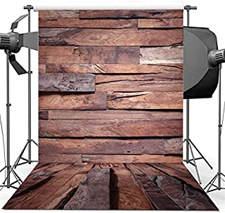 Brown Rustic Wood Photography Backdrop 5x7ft Wood Floor Photo Background for Picture Seamless Vintage Wood Photography Background Video Studio Props YouTube Background BT025