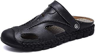 Men Sandals Double Purpose Sandals for Men Fashion Slipper Shoes Slip On Style PU Leather Empty Comfortable