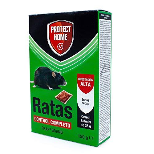 Raticida en cereal, control completo. Indicado para zonas secas, interiores y exteriores. Veneno para ratas.
