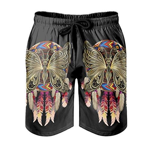 Xuanwuyi Native Butterfly Dreamcatcher Pantalones de playa con bolsillos impresión 3D microfibra poliéster bañadores malla forro verano surf piscina Junta secado rápido Super ligero arena blanco 2xl ✅