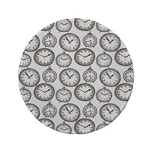 Rutschfreies Gummi-Rundmaus-Pad Uhrendekor Vintage-Taschenuhr mit Nummern darauf Design Chronometer Dekorationen für Zuhause Braun 7.9'x7.9'x3MM