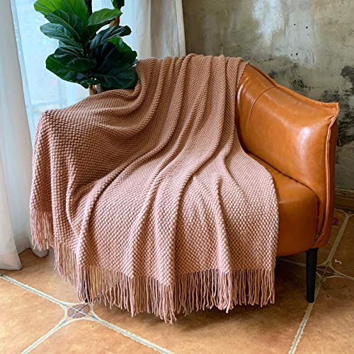 LOMAO Knitted Throw Blanket with Tassels Bubble Textured Lightweight Throws
