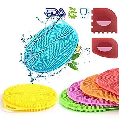 IYOOH Silicone Dish Sponges, Multipurpose Washing Dish Scrubber Kitchen Cleaning Brush, Mildew-Free Rubber Dishwashing Sponge, Non-Scratch Scouring Pads, Additional Plastic Pan/Grill Scraper Set