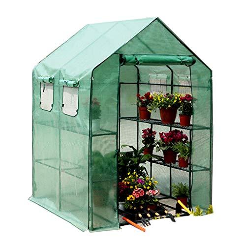 Serres de Jardin Tunnel extérieure - Articles ménagers Légumes/Fruits Maison Verte avec 12 étagères et Couvercle renforcé Robuste, 143 × 143 × 195cm Tomate (Couleur : Green)