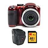 Kodak PIXPRO AZ252 Astro Zoom 16MP Digital Camera (Red) with Kodak 16GB SD Card and Travel Bag Bundle (3 Items)
