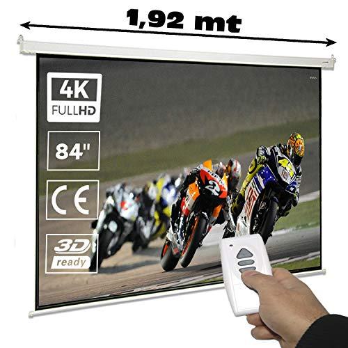 """Pantalla de proyeccion electrica 84"""" para proyector , cajetin de Acero Lacado en Blanco, Pantalla para proyector electrica con Mando inalambrico, Auto Enrollable, Compatible con 4K (84 Pulgadas 4:3)"""