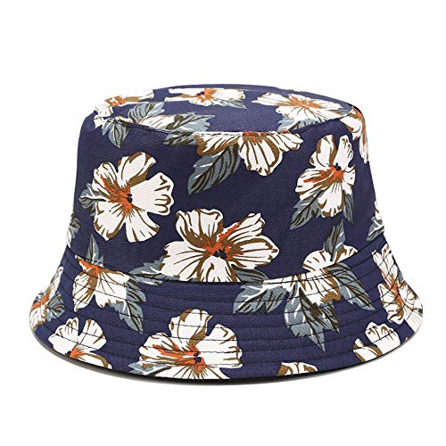 ZHENQIUFA Sombrero Pescador Gorras Sombrero De Cubo con Estampado Floral Informal para Hombres Y Mujeres Lona De Dos Caras Plegable Sombrero para El Sol con Cubo Al Aire Libre Gorra-Azul Marino