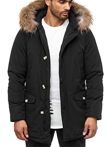 Husaria Designer Winterjacke Funktionsjacke mit Kapuze Fell Parka 7101 (L, Schwarz)