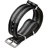 Cinturino orologio ZULUDIVER Nylon NATO Strisce nero/grigio 18mm