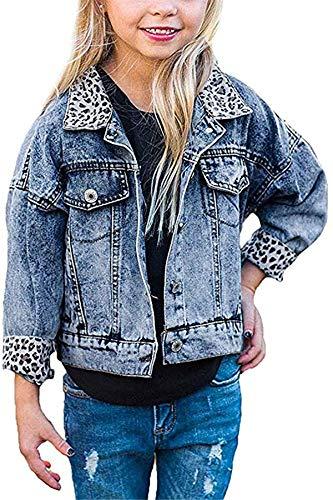 Bowanadacles Giacca Denim da Bambina Giubbotto di Jeans con Maniche Lunghe Risvolto di Stampa Leopardata Abbottonata Casual Moda 1-5 Anni(Denim Scollo Leopardato, 9-12 mesi)