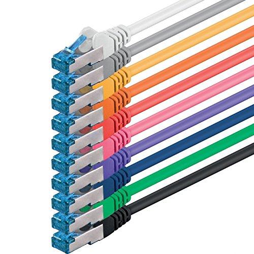 1aTTack.de Cat6 a Netzwerkkabel Cat Cat 6 a Kabel LAN Ethernet Patchkabel 500Mhz 10 Gb s 10 Farben 1m