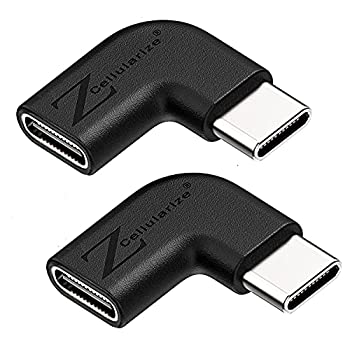 Cellularize Right Angle USB C Adapter  2 Pack  Low Profile 90 Degree PD 100W Quick Charge Type C Male to Female for Thunderbolt 3 MacBook Nintendo Switch Samsung