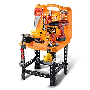 Toy Choi's Pretend Play Series Standard Workbench Toy Tool Play Set 82 Pieces Construction Work Shop Toy Tool Kit Bench Outdoor Travel Preschool Toy Gift for Kids Toddler Baby Children Boys and Girls