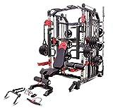MiM USA Commercial Hercules 1001 Jumbo | Máquina Smith & Entrenador funcional | Jaula de potencia | Prensa de piernas | Brazos de barbilla y Jammer | Banco de pesas ajustable con extensión de pierna | Juego completo de accesorios