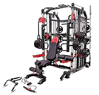 MiM USA Commercial Hercules 1001 Jumbo | Smith Machine & Functional Trainer | Power Cage | Leg Press | Dip Chin & Jammer Arms | Adjustable Weight Bench with Leg Extension | Full Set of Accessories
