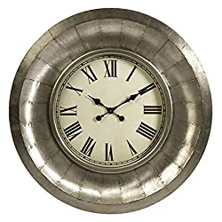 CC Home Furnishings 33.25 Industrial Riveted Aluminum Roman Numeral Display Round Wall Clock