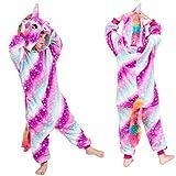 Mädchen Jungen Einhorn Onesies Pyjamas Nette Nachtwäsche Cosplay Kostüme Flanell Nachtwäsche Phantasie Overall Overall Dress Up Größe für Kinder (Multicolor, 140)