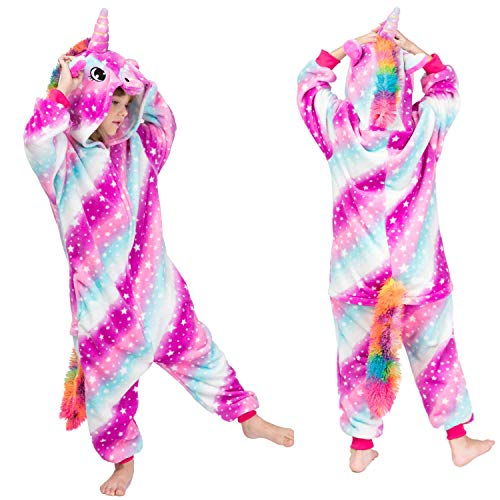 Mädchen Jungen Regenbogen Einhorn Onesies Pyjamas, Kinder Cosplay Onesies Halloween Pyjamas, Kapuze Supersoft Fleece Jumpsuit Playsuit Wear. (Mehrfarbig,130)