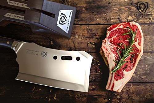 """DALSTRONG Obliterator Meat Cleaver - 9"""" - Gladiator Series R - Stand and Sheath Included - Massive Heavy Duty - 3lbs - 6mm Thickness - 7CR17MOV High Carbon Steel"""