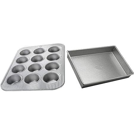 Amazon Com Usa Pan Bakeware Aluminzed Steel 5 Piece Set Half Cookie Sheet Loaf Square Round Cake Pan Kitchen Dining