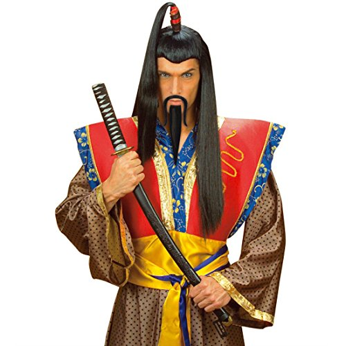 NET TOYS Schwarzer Samurai Chinesen Bart zum Ankleben Chinesenbart Faschingsbart Karnevalsbart Fasching Karneval