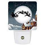 Lámpara LED de noche enchufable con sensor de noche para dormitorio, baño, cocina, guardería, pasillo, decoración del hogar, pared, chimenea de trineo de Papá Noel