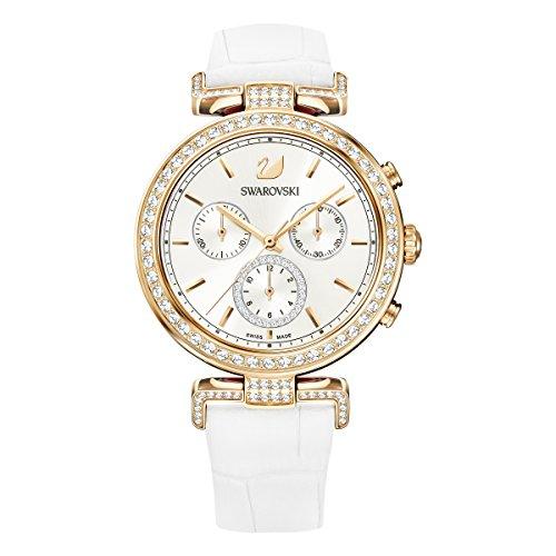 Swarovski Reloj Era Journey, para Mujer, Correa en piel, blanco, PVD en tono Oro Rosa
