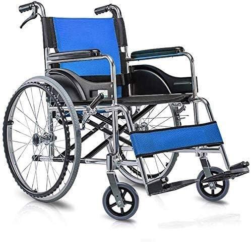 YUQIYU Autopropulsado silla de ruedas plegable Transporte económica for luces scooter Manual Desactivado portátil neumático sólido freno de mano