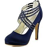 Elegantpark EP11085-PF Chaussure Plateforme Femme Bretelles Escarpins Femme Talon Satin avec Retour Zip Soirée Chaussures Mariée Bleu Marine 41