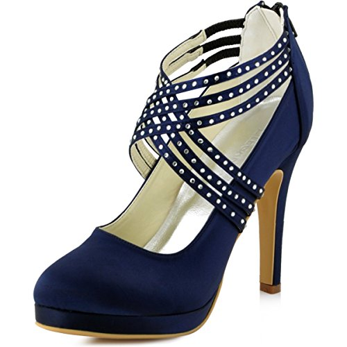 ElegantPark EP11085-PF Zapatos Novia Boda Plataforma Rhinestones Cerrado Zipper Raso Zapatos Fiesta Boda Mujer Azul Marino Talla EU 37