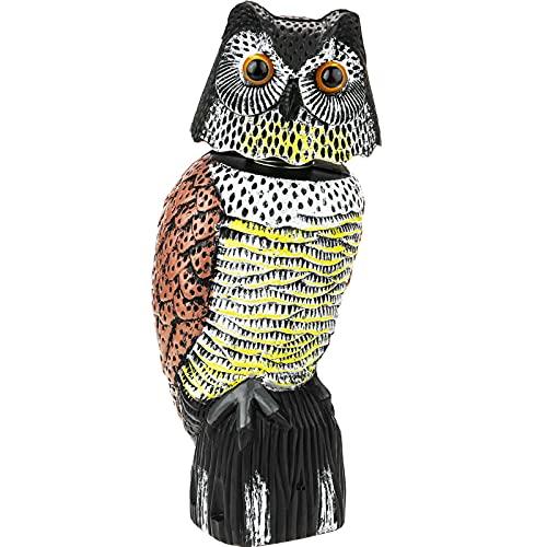 PrimeMatik - Ahuyentador de Aves Tipo Estatua búho con Sonido 40cm Hembra