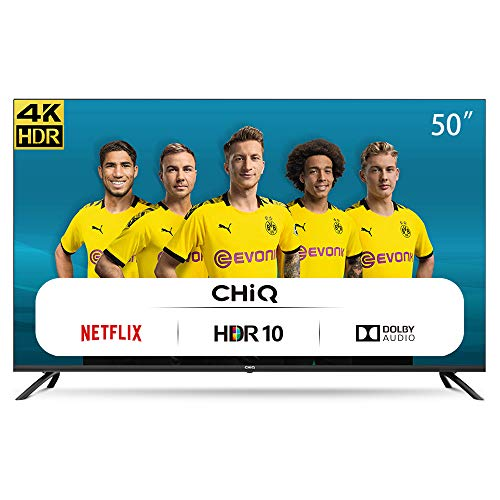 CHiQ Televisor Smart TV LED 50 Pulgadas 4K UHD, HDR 10/HLG, WiFi, Bluetooth (Solo Auriculares y Altavoces), Youtube, Netflix, Prime Video, 3 x HDMI, 2 x USB - U50H7L