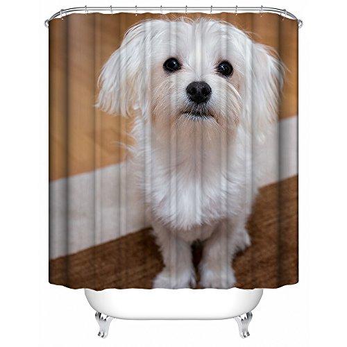 HUIYIYANG Benutzerdefinierte Duschvorhang, Lovely Happy Maltese Puppy Dog 3D Tiere DesignWasserdichter Anti Mehltau Gewebe Polyester Badezimmer Duschvorhang 60