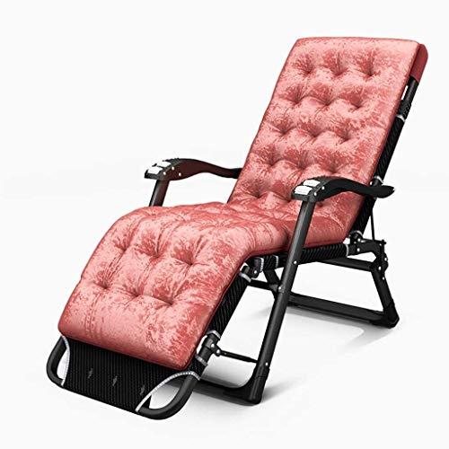 LAMTON Silla reclinable Plegable Plegable Silla de salón Cama Portable de múltiples Funciones de la Siesta Fuera sillas Ajustables Beach (Color : Peach Powder)