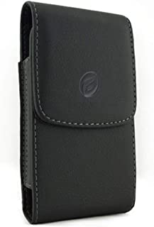 Black Vertical Leather Case Side Cover Protective Pouch Holster Belt Rotating Clip w Loops Y1J Compatible with Alcatel Onyx - ASUS PadFone X - BlackBerry Z30 - HTC One Mini 2, Droid DNA