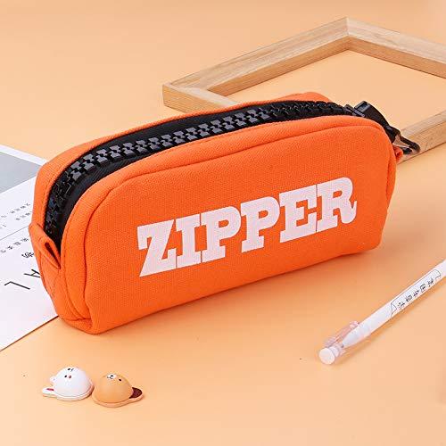 Estuche escolar con doble compartimento, gran capacidad, material escolar, papelería, lápiz capacitivo para niña, niña, niña, adolescente y adolescente naranja