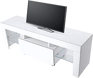 130 x 35 x 45 cm Mobile da Soggiorno Mobile TV Porta Mobile Porta TV Moderno con LED Wakects Mobile TV Basso Bianco Fino a 60 Pollici