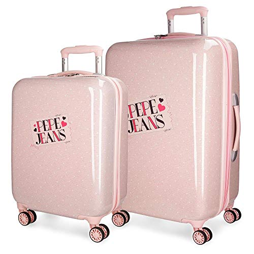 Pepe Jeans Olaia Koffer-Set, 67 cm, 97 liters, Pink (Rosa)