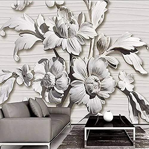 Life Accessories Mural for Walls 3D Stereoscopic Embossed White Gypsum Flower Modern Living Room Sofa Tv Backgro Grey Wall Sticker Border Living Room for Bedroom Rose Blue Mural kids 430cm times 30