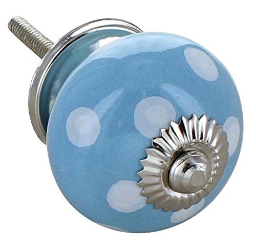G Decor Motif à pois Bleu clair en céramique style Shabby Chic Bouton de porte de placard Poignée de tiroir tirage 4502-Caramote TGS